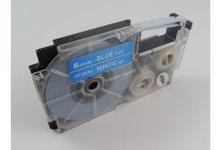Banda compatibila Casio XR-6ABU 6mm x 8m text alb / fundal albastru