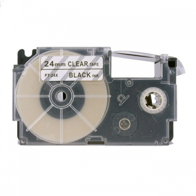 Banda compatibila Casio XR-24X1, 24mm x 8m, text negru / fundal transparent