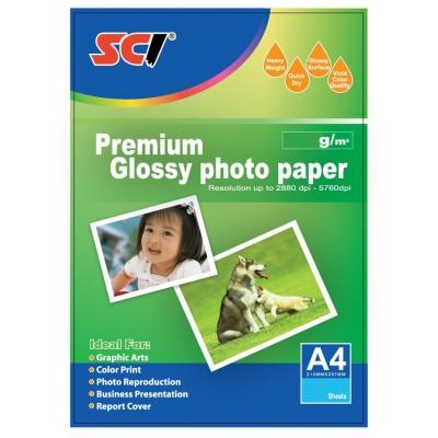 SCI GPP-230 Glossy Inkjet Photo Paper, 230g, A4, 20 buc., hârtie foto lucioasa
