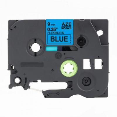 Banda compatibila Brother TZ-FX521 / TZe-FX521, 9mm x 8m, flexi, text negru / fundal albastru