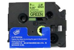 Banda compatibila Brother TZ-D21 / TZe-D21, semnal 9mm x 8m, text negru / fundal verde