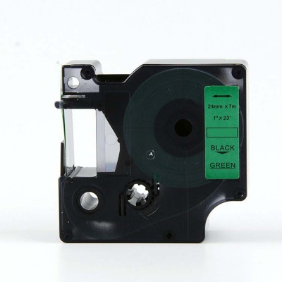 Banda compatibila Dymo 53719, S0720990, 24mm x 7m, text negru / fundal verde