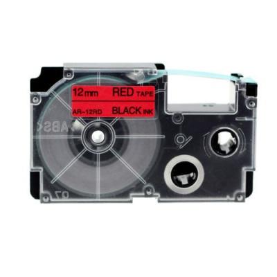 Banda compatibila Casio XR-12RD1, 12mm x 8m text negru / fundal rosu
