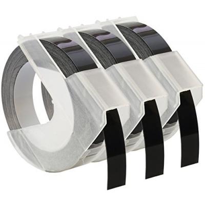Banda compatibila Dymo S0847730, 9mm x 3 m, text alb / fundal negru, 3 buc.