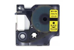 Banda compatibila Dymo 45018, S0720580, 12mm x 7m, text negru / fundal galben