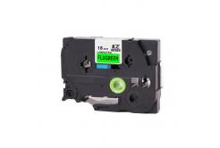 Banda compatibila Brother TZ-D41 / TZe-D41, semnal 18mm x 8m, text negru / fundal verde