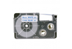Banda compatibila Casio XR-9WEB 9mm x 8m text albastru / fundal alb