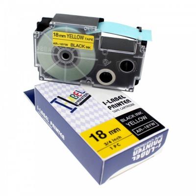 Banda compatibila Casio R11YW 18mm x 2,5m contractabila, text negru / fundal galben
