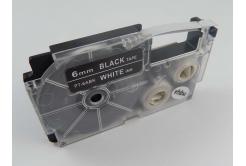 Banda compatibila Casio XR-6ABK, 6mm x 8m text alb / fundal negru