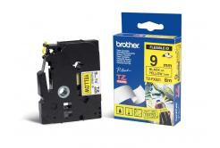 Brother TZ-FX621 / TZe-FX621, 9mm x 8m, flexi, text negru / fundal galben, banda original