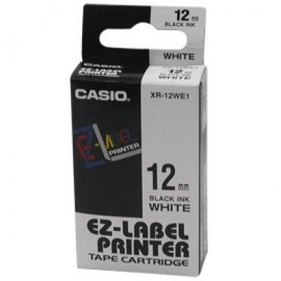 Casio XR-12WE1, 12mm x 8m, text negru / fundal alb, banda originală