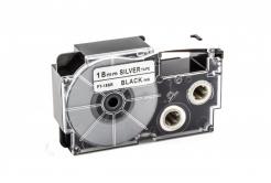 Banda compatibila Casio XR-18SR1 18mm x 8m text negru / fundal argintiu
