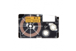 Casio XR-9FOE , 9mm x 8m, černý tisk / signální oranžový podklad, kompatibilní páska
