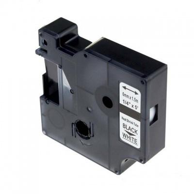 Dymo 18051, S0718260, 6mm x 1, 5m text negru / fundal alb, tub termocontractibil, banda compatibila