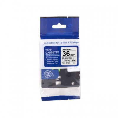 Banda compatibila Brother TZ-S161 / TZe-S161, 36mm x 8m, puternic adeziva, text negru / fundal transparent