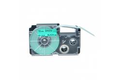 Banda compatibila Casio XR-12GN1, 12mm x 8m text negru / fundal verde