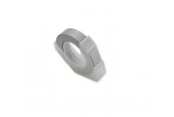 Dymo Omega, 9mm x 3m, text alb / argintiu negru, banda compatibila