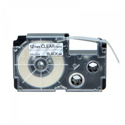 Banda compatibila Casio XR-12X1, 12mm x 8m text negru / fundal transparent
