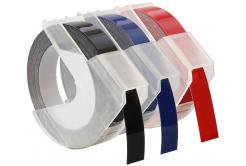 Banda compatibila Dymo S0847750, 9mm x 3 m, text alb / negru, albastru, rosu, 3 buc.