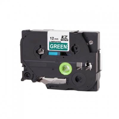 Banda compatibila Brother TZ-735 / TZe-735, 12mm x 8m, text alb / fundal verde