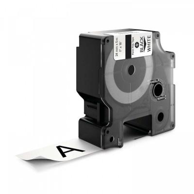 Banda compatibila Dymo 1734523, 24mm x 5, 5m text negru / fundal alb, poliester