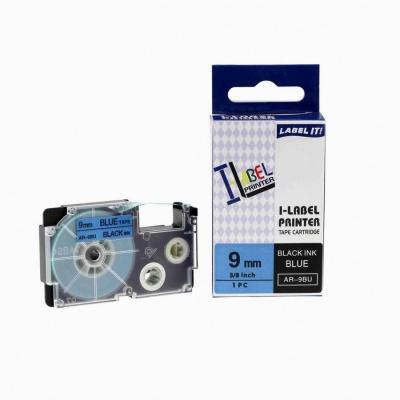 Banda compatibila Casio XR-9BU1, 9mm x 8m text negru / fundal albastru