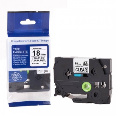 Banda compatibila Brother TZ-S141 / TZe-S141, 18mm x 8m, puternic adeziva, text negru / fundal transparent
