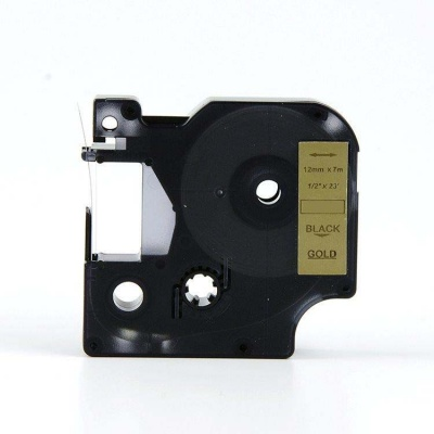 Banda compatibila Dymo 40923, 9mm x 7m, text negru / fundal auriu