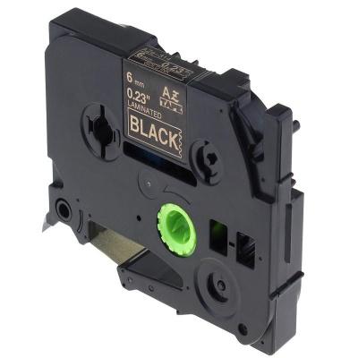 Banda compatibila Brother TZ-314 / TZe-314, 6mm x 8m, text auriu / fundal negru