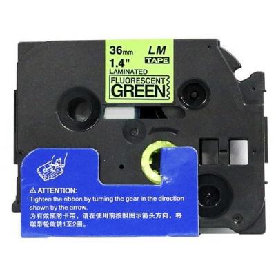 Banda compatibila Brother TZ-D61 / TZe-D61, semnal 36mm x 8m, text negru / fundal verde