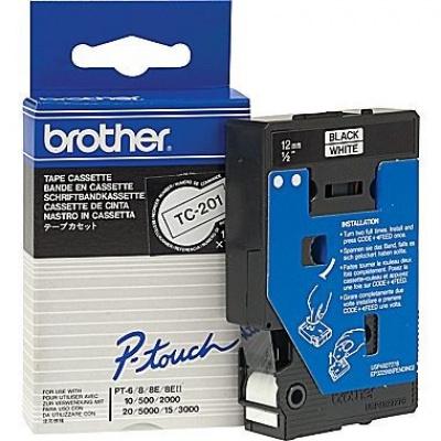 Brother TC-201, 12mm x 7,7m, text negru / fundal alb, banda original
