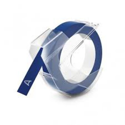 Banda compatibila Dymo S0898140, 9mm x 3m, text alb / fundal albastru
