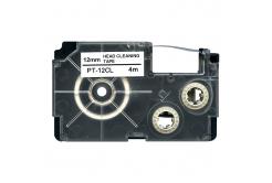 Casio XR-12CL, 12mm x 4m, text negru / fundal alb, curatenie, banda compatibila