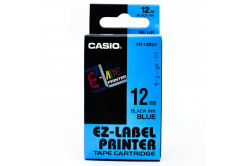 Casio XR-12BU1, 12mm x 8m, text negru / fundal albastru, banda originala