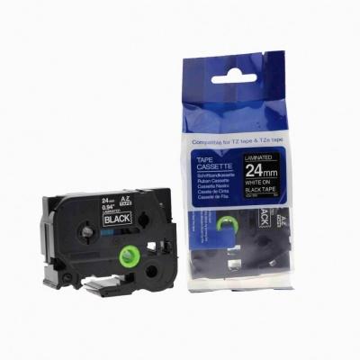 Banda compatibila Brother TZ-355 / TZe-355, 24mm x 8m, text alb / fundal negru