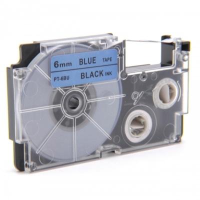 Banda compatibila Casio XR-6BU1, 6mm x 8m text negru / fundal albastru
