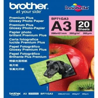 Brother BP71GA3 Glossy Photo Paper, hartie foto, lucios, alb, A3, 260 g/m2, 20 buc
