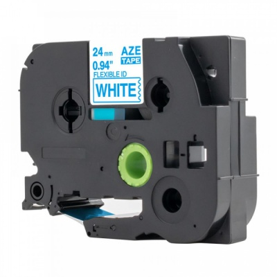Banda compatibila Brother TZ-FX253 / TZe-FX253, 24mm x 8m, flexi, text albastru / fundal alb
