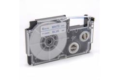 Banda compatibila Casio XR-6WEB 6mm x 8m text albastru / fundal alb