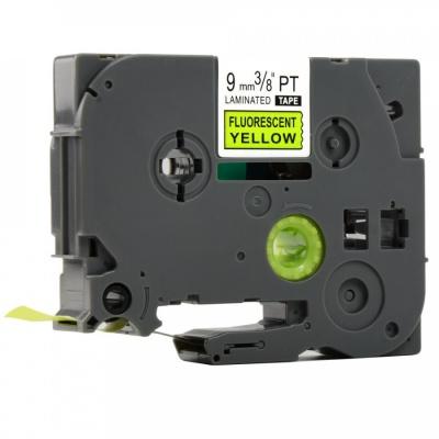 Banda compatibila Brother TZ-C21 / TZe-C21, semnal 9mm x 8m, text negru / fundal galben