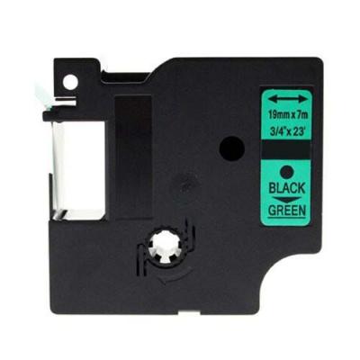 Banda compatibila Dymo 45809, S0720890, 19mm x 7m, text negru / fundal verde