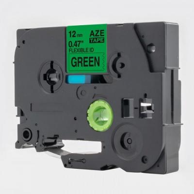 Banda compatibila Brother TZ-FX731 / TZe-FX731, 12mm x 8m, flexi, text negru / fundal verde