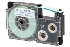 Casio XR-9WEB1, 9mm x 8m, text albastru / fundal alb, banda originala