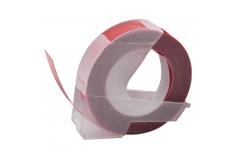Dymo Omega, 9mm x 3m, bílý tisk / kaštanový podklad, kompatibilní páska