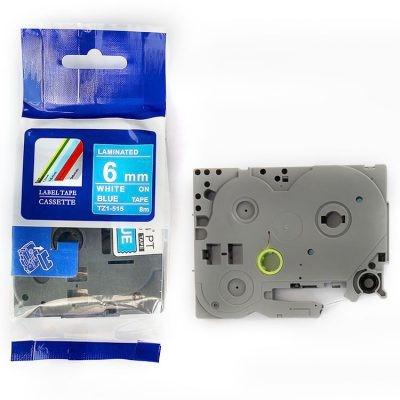 Banda compatibila Brother TZ-515 / TZe-515, 6mm x 8m, text alb / fundal albastru