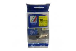Banda compatibila Brother TZ-S641 / TZe-S641 18mm x 8m puternic adeziva, text negru / fundal galben