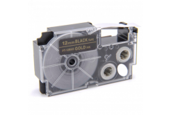 Banda compatibila Casio XR-12BKG 12mm x 8m text auriu / fundal negru