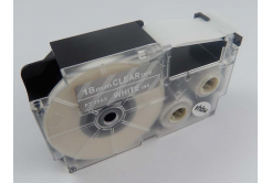 Banda compatibila Casio XR-18AX 18mm x 8m text alb / fundal transparent