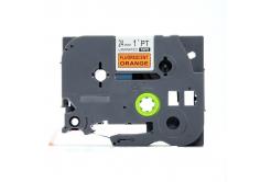 Banda compatibila Brother TZ-B51 / TZe-B51, semnal 24mm x 8, text negru / fundal portocaliu