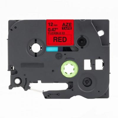 Banda compatibila Brother TZ-FX435 / TZe-FX435, 12mm x 8m, flexi, text alb / fundal rosu